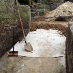 Bentonitová rohož a vrstvení jílu - nároží jižního a západního traktu 2