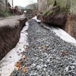 Drenážní vrstva před zakrytím geotextilií - jižní trakt
