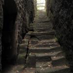 Pohled na horní polovinu západního ramene schodiště od vstupu na kruchtu kostela.