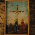 Obraz Dokonáno jest. Pod křížem Panna Marie a apoštol Jan. Olej na dřevě, Ondřej Mašek 2013